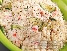 Рецепта Ориз със сметана и рулца от раци
